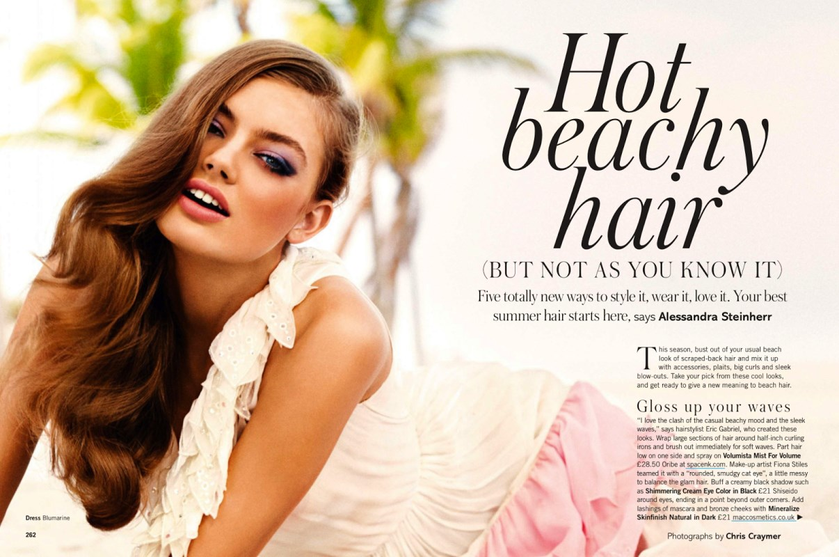 Hot Beachy Hair by Chris Craymer for Glamour UK June 2013