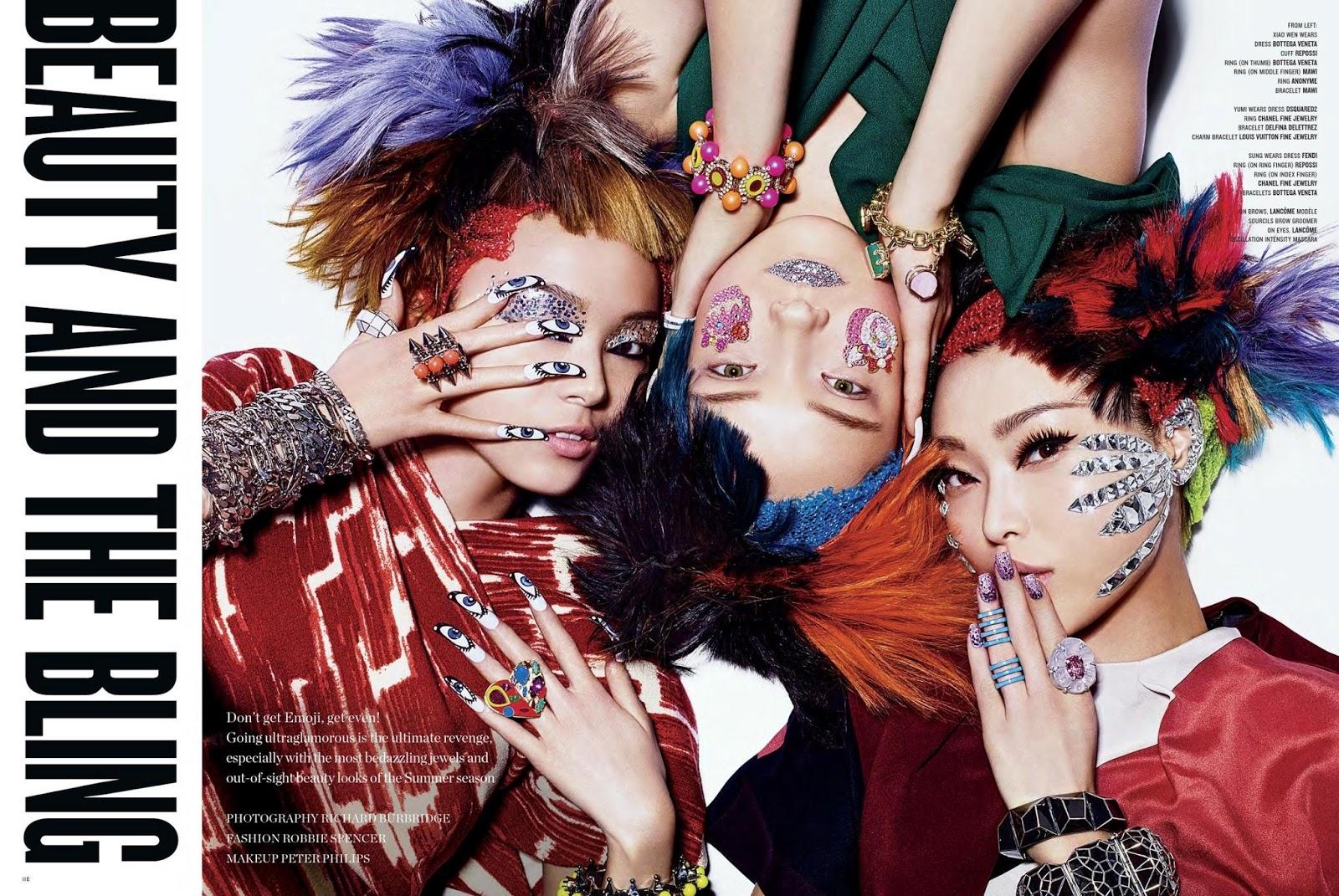 Yumi Lambert, Xiao Wen & Sung Hee Kim by Richard Burbridge - Beauty And The Bling 1