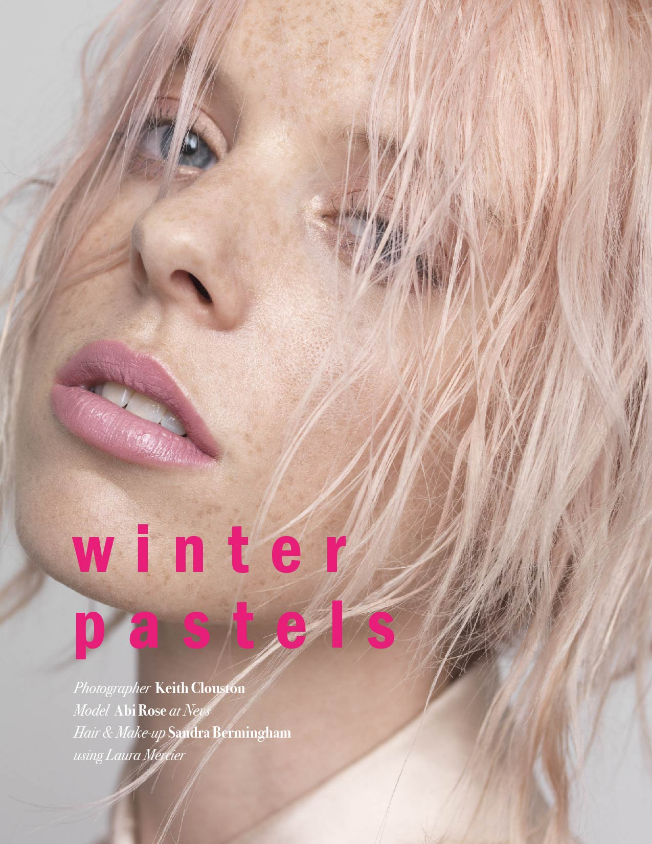 Abi Rose at Nevs stars in a new beauty story shot by photographer Keith Clouston for L'Beaut #2. With hairstyles & makeup looks by Sandra Bermingham using ... - Winter-Pastels-by-Keith-Clouston-for-LBeaut-2-1