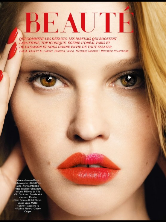 Lara Stone by Nico for Glamour France May 2014